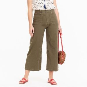 J. Crew Point Sur Washed Wide Leg Crop Olive Green